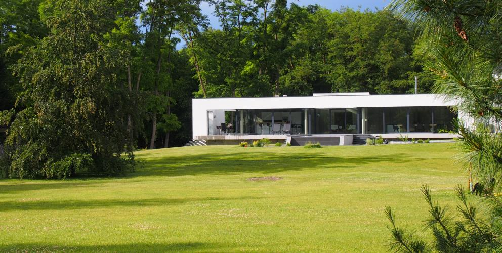 Projet CS - Le pavillon vu depuis le parc