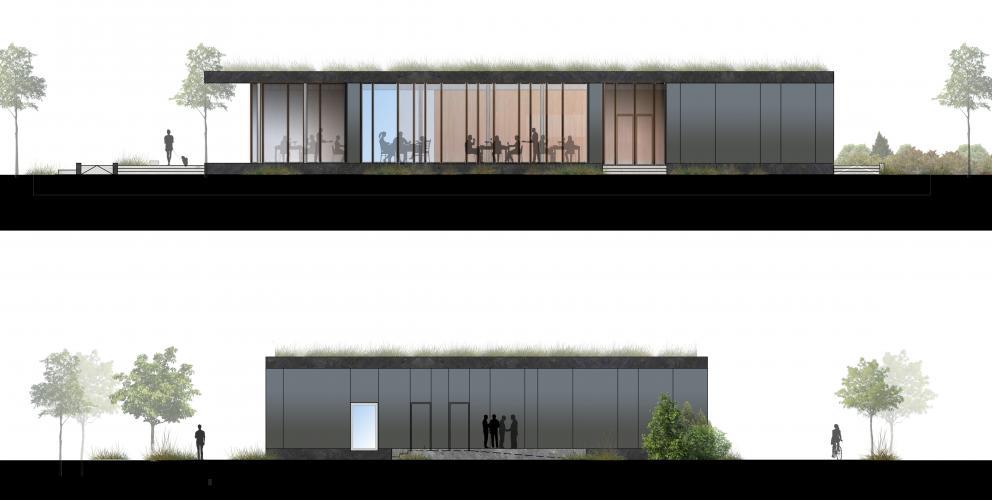 Forum - La façade Ouest s'ouvre sur le parc, tandis que la façade Sud - plus opaque - concentre les espaces techniques
